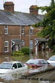 Flooded street in Evesham, Warwickshire. After the river Avon bursts its banks. - Paul Box - 22-07-2007