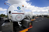 Gloucester, A water Truck from Northumbrian water fills a water bowser to supply drinking water to citizens that have no water supply due to the flooded water works plant in Tewkesbury. This water nee... - Paul Box - 29-07-2007