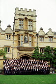 First year students pose for a matriculation photograph at University College, Oxford. - Philip Wolmuth - 14-10-1989