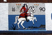 Loyalist mural in West Belfast commemorating the victory of William of Orange at the Battle of the Boyne - Philip Wolmuth - 1690,1980s,1989,ACE arts culture,cities,city,Irish,Loyalism,Loyalist,Loyalists,mural,MURALS,Northern Ireland,Orange,orangeman,orangemen,Sectarian,sectarianism,The Troubles,UCW unrest conflicts,UNIONIO