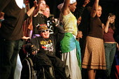 A young wheelchair user takes pasrt in a Haringey Shed theatre workshop perform a drama about inner city teenage street life. - Philip Wolmuth - 13-11-2002
