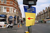 Road sign directing buses running a rail replacement service in Cricklewood, London - Philip Wolmuth - 21-08-2003