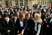 First year students at Oxford arrive for matriculation, the ceremony which marks their formal induction as members of the university. - Philip Wolmuth - 18-10-2003