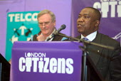 Roland Biosah, from the National Executive of the PCS, speaks about the need for improved advice services for the elderly at the first London Citizens Delegates Assembly, organised by TELCO - Philip Wolmuth - 12-02-2004