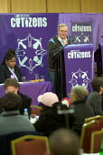 Mike Bold, Branch Secretary of Homerton Hospital UNISON, chairs a session at the first London Citizens Delegates Assembly, organised by The East London Citizens Organisation (TELCO), which voted to pr... - Philip Wolmuth - 12-02-2004