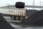 South African coal unloaded at Immingham Dock, River Humber, being loaded for transport to UK power stations. - Philip Wolmuth - 02-04-2004
