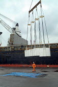 Stevedores unload USA wood pulp, for use in the manufacture of disposable nappies, from a ship anchored at Immingham Dock on the River Humber. - Philip Wolmuth - 02-04-2004