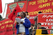 Sarah Awodja, of Kenyan Textile Workers Union and Play Fair Campaign, addresses a TUC May Day rally in Trafalgar Square, London - Philip Wolmuth - 01-05-2004