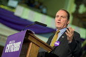 Liberal candidate Simon Hughes speaks at the London Citizens Mayoral Accountability Assembly in Central Hall, Westminster. - Philip Wolmuth - 04-05-2004