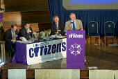 Mayor of London Ken Livingstone and candidates Simon Hughes, Darren Johnson and Stephen Norris at the London Citizens Mayoral Accountability Assembly in Central Hall, Westminster. - Philip Wolmuth - 04-05-2004