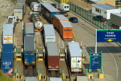 Lorries on the dockside at the Dover ferry terminal - Philip Wolmuth - 21-07-2004