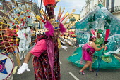Members of Flamboyan Carnival Arts parade in costume at Notting Hill Carnival, London - Philip Wolmuth - 30-08-2004