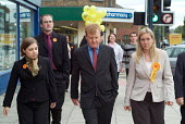 Liberal Democrat leader Charles Kennedy electioneering in Hartlepool with candidate Jody Dunn and Brent East MP Sarah Teather. - Philip Wolmuth - 2000s,2004,by election,campaign,campaigning,CAMPAIGNS,candidate,CANDIDATES,DEMOCRACY,democrat,Democrats,election,elections,FEMALE,leader,liberal,liberals,mp,mps,party,people,person,persons,pol,politic
