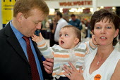 Liberal Democrat leader Charles Kennedy encounters a baby while electioneering in Hartlepool. - Philip Wolmuth - 2000s,2004,babies,baby,by election,campaign,campaigning,CAMPAIGNS,Child,CHILDHOOD,children,DEMOCRACY,democrat,Democrats,EARLY YEARS,election,elections,electorate,FEMALE,infancy,infant,infants,juvenile