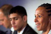 Olympic gold medallist Kelly Holmes speaks at a London 2012 press conference at the beginning of the International Olympic Committee Evaluation Commission's official visit to London to assess the city... - Philip Wolmuth - 2000s,2005,athlete,athletes,black,BME Black minority ethnic,conference,conferences,ethnic,ETHNICITY,FEMALE,Games,gold,L2012,London,medalist,minority,models,Olympic,Olympics,people,person,persons,PHYSI