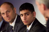 Olympic silver medallist Amir Khan and gold medallist Sir Steve Redgrave at a London 2012 press conference at the beginning of the International Olympic Committee Evaluation Commission's official visi... - Philip Wolmuth - 2000s,2005,asian,black,BME Black minority ethnic,boxer,boxers,conference,conferences,ethnic,ETHNICITY,Games,L2012,London,medalist,minority,models,Olympic,Olympics,PHYSICAL,role,spo sport sports,sport,