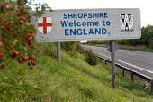 Road sign marking the border between England and Wales on the A5. - Philip Wolmuth - 08-10-2005
