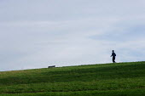 A jogger on Parliament Hill, Hampstead Heath, London. - Philip Wolmuth - 21-10-2005