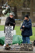 Brian Haw, anti-war protester, at his encampment in Parliament Square, London. - Philip Wolmuth - 29-11-2005