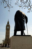 Statue of Sir Winston Churchill in front of Big Ben in Parliament Square, London - Philip Wolmuth - ,2000s,2006,ace art arts,age,ageing population,art,arts,artwork,artworks,cities,city,democracy,elderly,government,London,male,man,men,monument,Monuments,old,Parliament,people,person,persons,POL politi