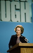 Margaret Thatcher speaking at the Conservative Party Conference - Philip Wolmuth - 1980s,1984,Conference,conferences,conservative,Conservative Party,conservatives,FEMALE,London,Party,people,person,persons,POL politics,SPEAKER,SPEAKERS,speaking,SPEECH,woman,women