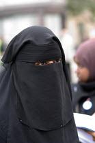 First ever celebration in Trafalgar Square of the Muslim festival of Eid ul-fitr, which marks the end of Ramadan - Philip Wolmuth - 2000s,2006,CELEBRATE,CELEBRATING,celebration,CELEBRATIONS,cities,city,dress,FEMALE,festival,FESTIVALS,hajib,headscarf,hijab,Holy,Islam,Islamic,London,monotheistic,month,MUSLEM,muslim,muslims,niqab,niq