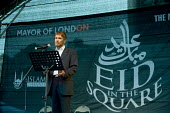 Dr M A Bari, Secretary General of the Muslim Council of Britain, speaks at the first ever celebration in Trafalgar Square of the Muslim festival of Eid ul-fitr, which marks the end of Ramadan - Philip Wolmuth - 28-10-2006