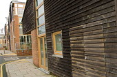 Recycled wood cladding on a building at the Beddington Zero Energy Development BedZED in the London Borough of Sutton. The highly insulated development was built using locally sourced materials. The 8... - Philip Wolmuth - 08-01-2007