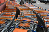 Shopping trolleys outside a Sainsbury's store at the O2 centre, Finchley Road, London. - Philip Wolmuth - 12-01-2007