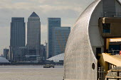 Part of the Thames Barrier, in Greenwich, and the Canary Wharf towers, Docklands London - Philip Wolmuth - 21-03-2007