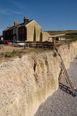 Surviving cottages in a terrace partly lost to coastal erosion of the chalk cliffs in the village of Birling Gap, East Sussex. - Philip Wolmuth - 08-04-2007