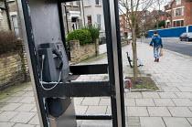 Vandalised British Telecom phone box, West Hampstead, London. - Philip Wolmuth - 28-12-2007