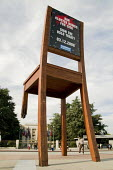 In September 1997 Handicap International unveiled the Broken Chair outside the United Nations in Geneva, Switzerland. The 12 metre high wooden sculpture was made by Swiss artist Daniel Berset in suppo... - Philip Wolmuth - 2000s,2008,ace art culture,activist,activists,against,agencies,agency,aid,Anti-Personnel,art,artist,ARTISTS,artwork,artworks,assistance,awareness,Ban,banning,BOMB,bombs,Broken,campaign,campaigner,camp
