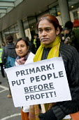 Shahida Sarkar, President of the National Garment Workers Federation of Bangladesh, and co-worker Shuma Sarkar picket Primark AGM being held at the TUC's Congress House, London. - Philip Wolmuth - 05-12-2008