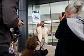 Freelance cartoonist Steve Bell supports an NUJ protest outside the offices of Guardian News & Media against the company's plans to stop paying freelance photographers for re-use of their pictures. - Philip Wolmuth - 01-09-2009
