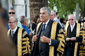 Lord Phillips, President of The Supreme Court, and Deputy President Lord Hope lead the new Justices from the court to Westminster Abbey. - Philip Wolmuth - 01-10-2009