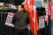 Postal workers picket Royal Mails Mount Pleasant sorting office, central London, during a national strike by CWU members over wages, conditions and pensions. - Philip Wolmuth - 29-10-2009