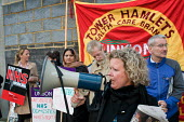 Janet Maiden, a nurse at UCH and Chair of Unison UCH Branch, joins members East London Mental Health Branch to protest outside East London NHS Foundation Trust against against privatisation and cutsag... - Philip Wolmuth - 26-11-2009
