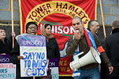 Members of Unison East London Mental Health Branch protest outside East London NHS Foundation Trust against privatisation and cutsagainst privatisation and cuts - Philip Wolmuth - 26-11-2009