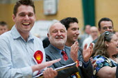Frank Dobson MP and party supporters cheering as Labour Party win a ward from the Liberal Democrats in the Camden Council local elections 2010, in which Labour defeated the ruling Liberal Democrats Co... - Philip Wolmuth - 07-05-2010