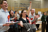 Party supporters cheering as Labour win a ward from the Liberal Democrats in the Camden Council local elections 2010, in which Labour defeated the ruling Liberal Democrats Conservative coalition, Lond... - Philip Wolmuth - 07-05-2010