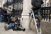 Press photographers working on laptops at the Houses of Parliament, 2010 General Election. - Philip Wolmuth - 11-05-2010