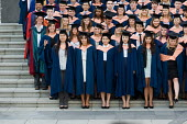 University of East Anglia (UEA) students pose for their graduation photograph. - Philip Wolmuth - 15-07-2010