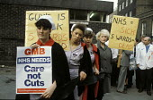 1984: Guy's Nurses Action Group protests outside Guy's Hospital, London, at ward closures and cuts. - Philip Wolmuth - 06-01-1984
