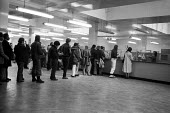Dole queue, Lisson Grove DHSS office, London 1978 - Philip Wolmuth - 1970s,1978,BENEFIT,benefit office,benefits,BENIFIT,BENIFITS,cities,city,CLAIMANT,claimants,employee,employees,Employment,FEMALE,job,jobless,jobs,jobseeker,jobseekers,LAB,lab lbr work,LBR,line,London,m