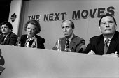 Chancellor of the Exchequer Nigel Lawson, Prime Minister Margaret Thatcher, Norman Tebbit and Paul Channon, Conservative Party pre-election press conference. - Philip Wolmuth - 1980s,1987,campaign,campaigning,CAMPAIGNS,Conservative Party,DEMOCRACY,election,electioneering,ELECTIONS,FEMALE,General Election,London,male,man,men,Minister,Party,people,person,persons,POL politics,p