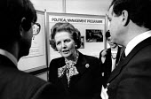 Margaret Thatcher speaking to private contractors exhibiting, Conservative Local Government Conference, London 1988 - Philip Wolmuth - 1980s,1988,Conference,conferences,CONSERVATIVE,Conservative Party,Conservatives,FEMALE,Government,INDEPENDENT,Local,London,male,man,Margaret Thatcher,men,outsourcing,people,person,persons,pol,politica