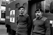 Army ambulance crew on standby at Chelsea Barracks during the ambulance workers pay dispute. - Philip Wolmuth - 16-11-1989