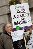 Users of Age Concern Camden's three resource centres demonstrate outside Camden Town Hall following the council's decision to cut funding and close them down. - Philip Wolmuth - 18-01-2011