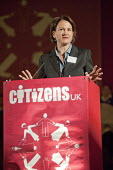 """Councillor Catherine West, Leader of Islington Council, addresses a �Day for Civil Society"""" organized by Citizens UK / London Citizens to celebrate 10 years of the Living Wage Campaign, launch a Natio... - Philip Wolmuth - 02-05-2011"""